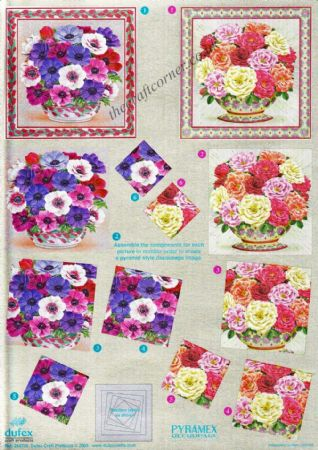 Anemones & Carnations Pyramex Dufex 3d Decoupage Pyramid Sheet